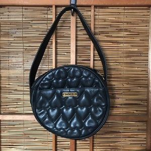 Moschino round leather bag w quilted hearts